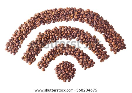 'Wi-FI' symbol from coffee beans on white isolated background - stock photo