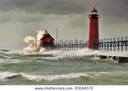 """""""Wicked Wind """"  Grand Haven Lighthouse , Grand Haven Michigan - stock photo"""
