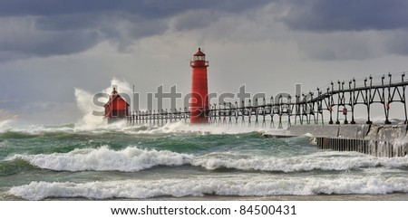 """"""" Wicked Wind""""  Grand Haven Lighthouse - Grand Haven , Michigan - stock photo"""