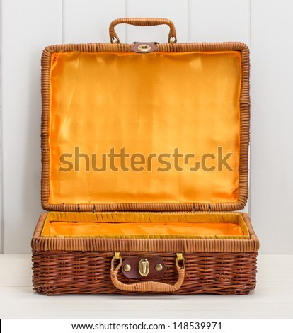 wicker picnic basket - stock photo