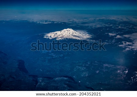 Wide Angle Full Aerial View of Mount Adams, Washington, May 2014. - stock photo