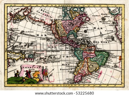 1730 Wiegel Map of the Americas showing California as an Island - stock photo