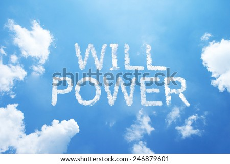 """will power"" cloud word on sky. - stock photo"