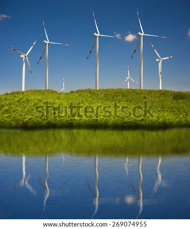 wind power plant with blue sky