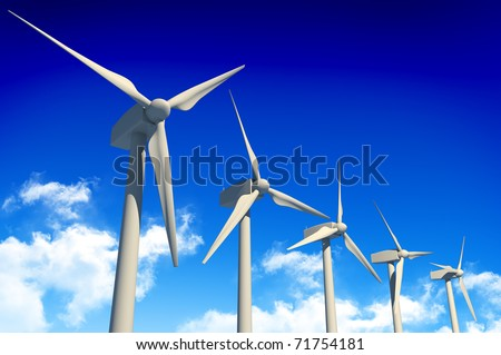 5 wind turbines on blue sky