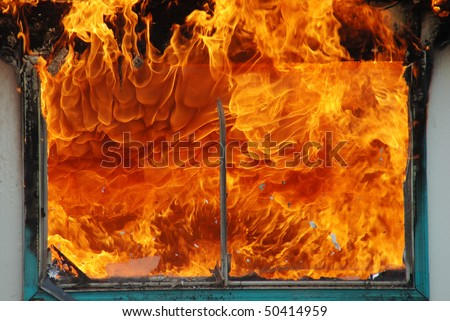 """Window Screen Inferno"" Douglas County Fire District #2 Burn to Learn, Hwy 99S, near Roseburg OR - stock photo"