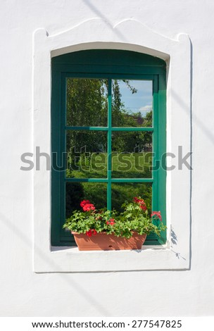 Window With Fresh Red Geranium Flowers