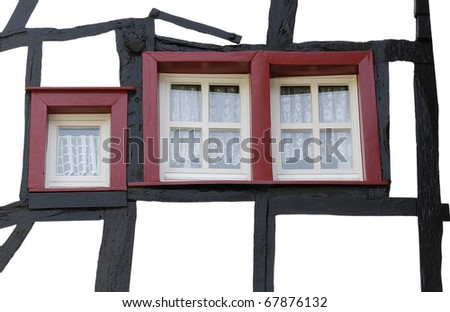 Windows of old house in Monschau (1198.) - town in the western portion of Germany - stock photo