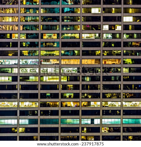 119 Windows on an office building facade in New York - stock photo