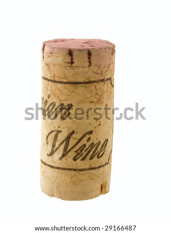 wine stopper with sign on white background isolated - stock photo