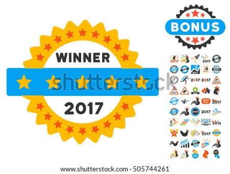 2017 Winner Stamp icon with bonus 2017 new year graphic icons. Glyph illustration style is flat iconic symbols,modern colors.