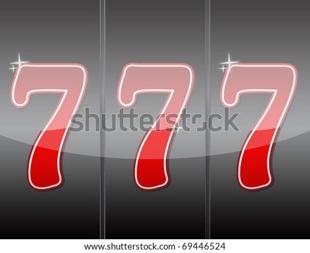 777. Winning in slot machine. - stock photo