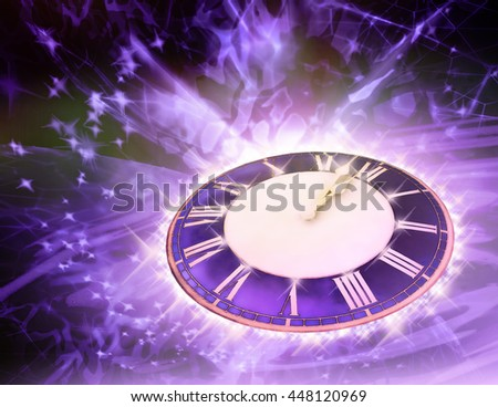 Winter background with round watch.  3D illustration - stock photo