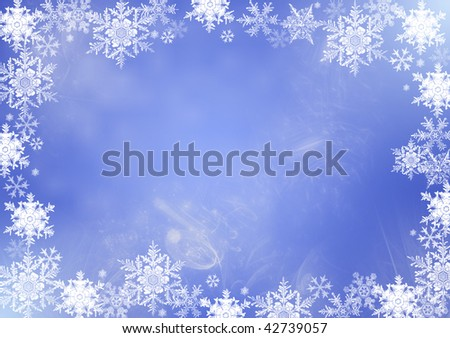 Winter frame with snowflakes - stock photo