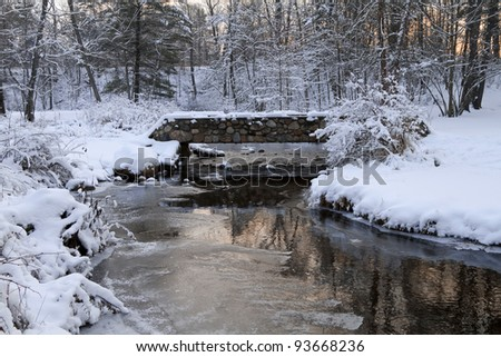 """Winter's Morning"" -- Day after a snowstorm - Rockford, Michigan, USA. - stock photo"