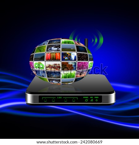 Wireless Router with internet production technology concept - stock photo