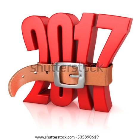 2017 with belt -  year of recession 3d rendering