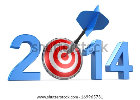 2014 with dartboard on white background - stock photo