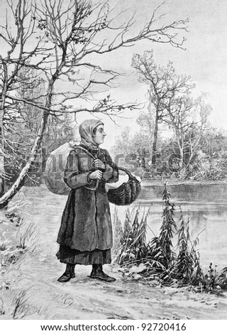 """""""With dried mushrooms in the city"""". Engraving on steel by Rashevsky from picture by painter Pisemsky. Published in magazine """"Niva"""", publishing house A.F. Marx, St. Petersburg, Russia, 1893 - stock photo"""