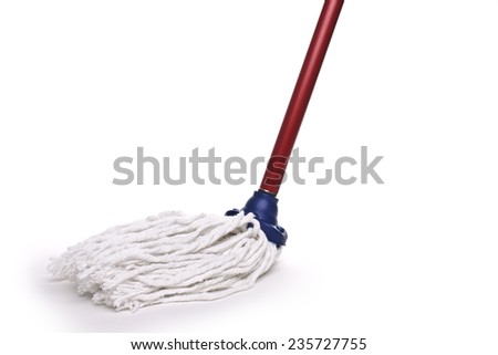with mop cleaning wooden floor from dust - stock photo