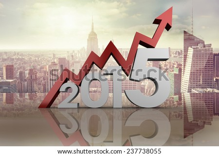 2015 with red arrow against room with large window looking on city - stock photo
