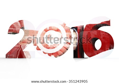 2016 with target against composite image of close up of two businesspeople shaking their hands - stock photo