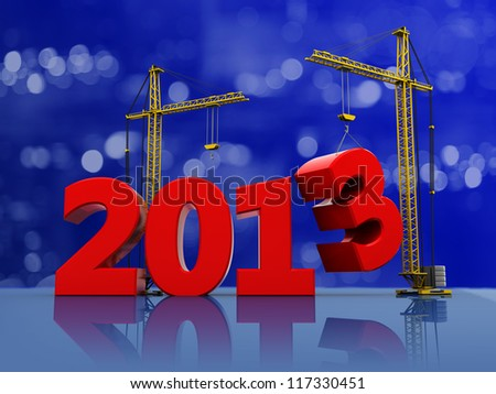 2013 with two cranes on the christmas background - stock photo