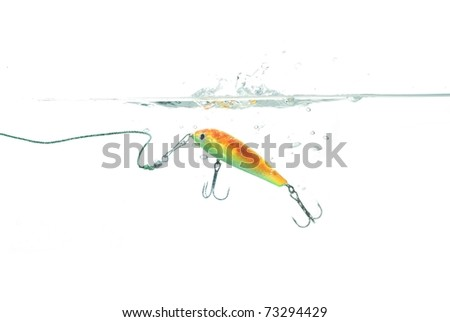 wobbler for fishing on white background - stock photo
