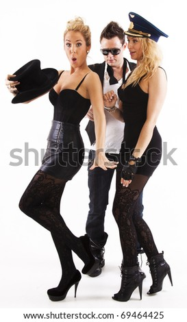 2 woman and a man - stock photo