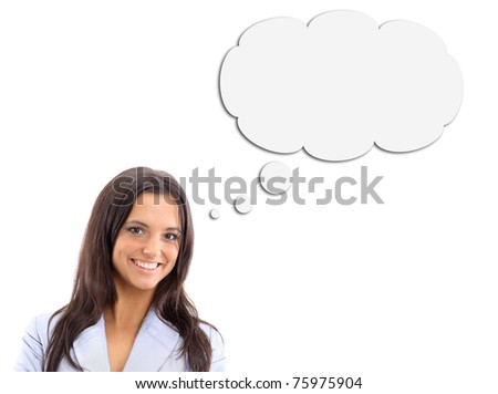 Woman and Blank Thought Bubbles with Clipping Path Isolated on a White Background - stock photo