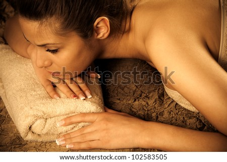woman enjoy in spa salon