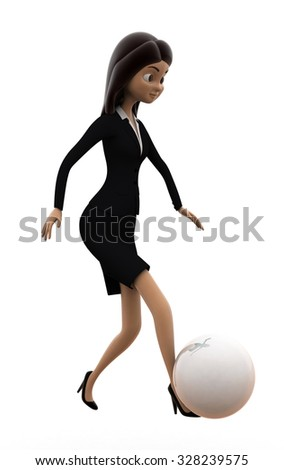 woman football concept on white background - 3d rendering, side angle view - stock photo