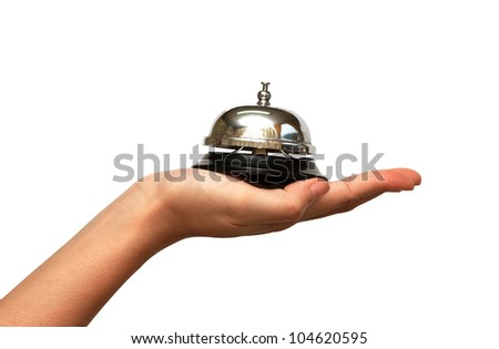 woman hand give an electric plug on white background, saveing energy - stock photo