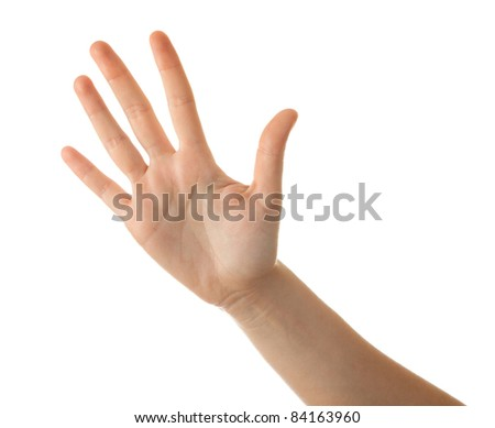 Woman hand isolated on white. - stock photo