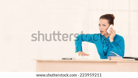 Woman Head or manager talking on the phone, a serious conversation.  - stock photo