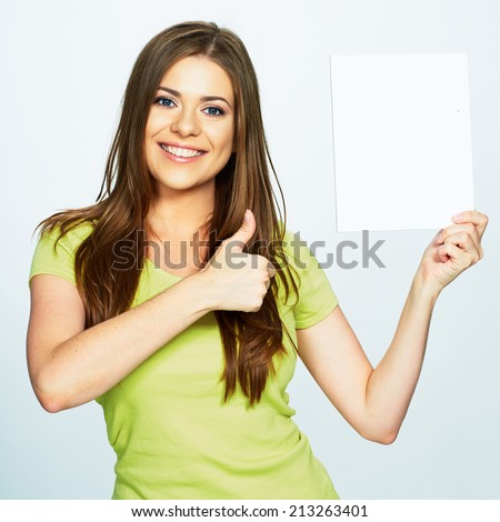 woman hold white banner. isolated portrait. - stock photo