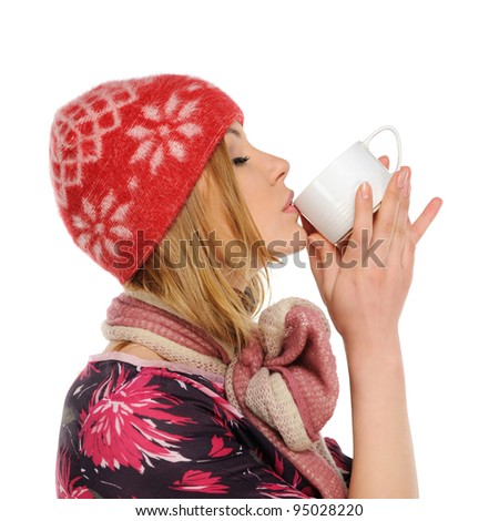 Woman holding a cup of coffee, isolated on a white background - stock photo