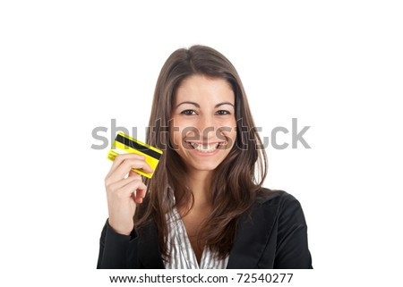 Woman Holding Credit Card isolated on white - stock photo