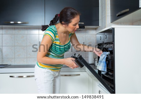 woman in the kitchen baking - stock photo