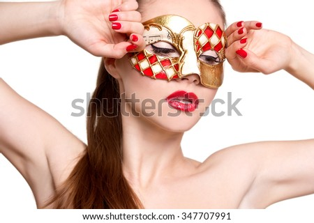 Woman in venetian mask.Carnival mask Close-up female portrait. New year party - stock photo