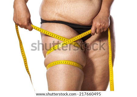 woman measure her leg with tape - stock photo