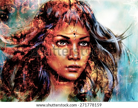 woman  mystic face, structure background,fire effect, collage.
