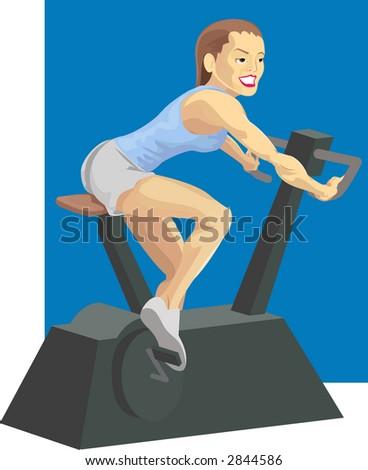Woman on exercise bike. Raster version - stock photo