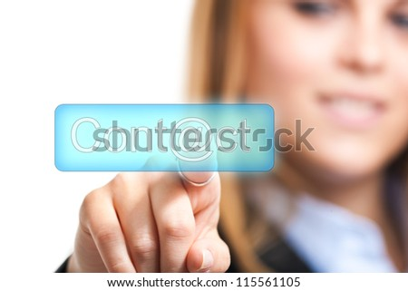 Woman pressing a virtual button
