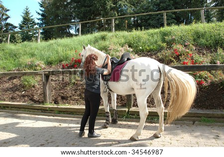 Woman saddles horse Andalusian breed.
