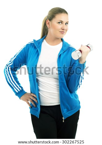 woman with a dumbbell, isolated against white background - stock photo