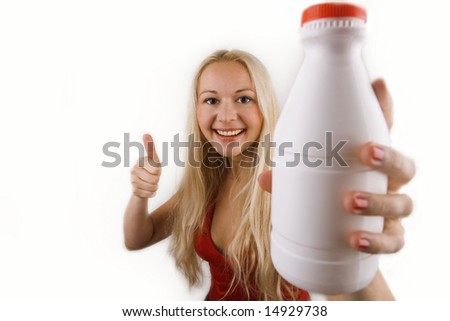 woman with bottle of milk