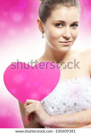 woman with heart - stock photo