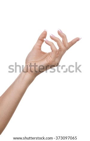 womans hand on white background - stock photo