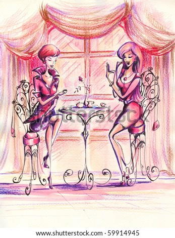 Women drinking coffee in coffeehouse.Picture I have created myself with watercolors and colored pencils. - stock photo